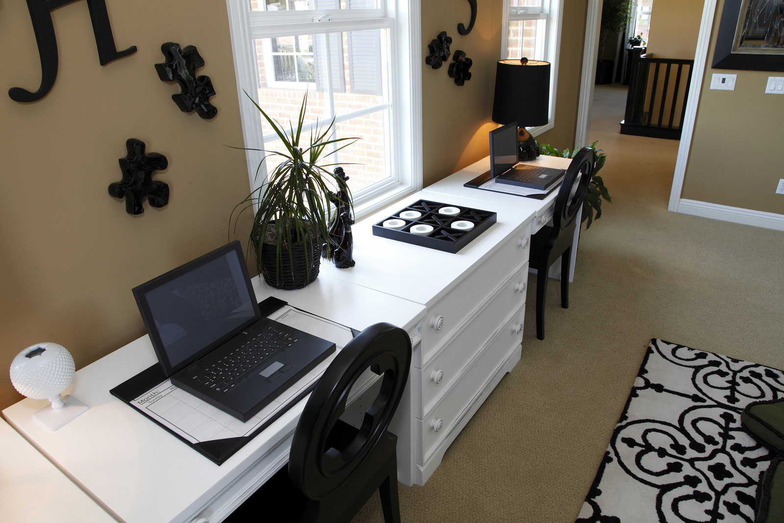 Luxury home office desk with two computers