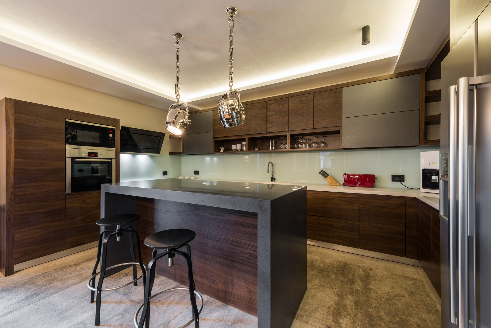 Zapisz Podgląd pobierania Stools at kitchen bar kitchen island and stools in modern and luxury home interior