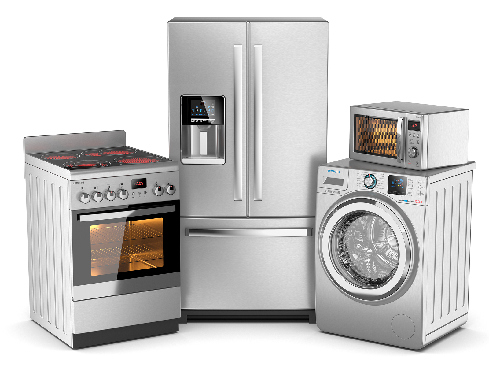 Home appliances. Group of silver refrigerator washing machine electric stove microwave oven