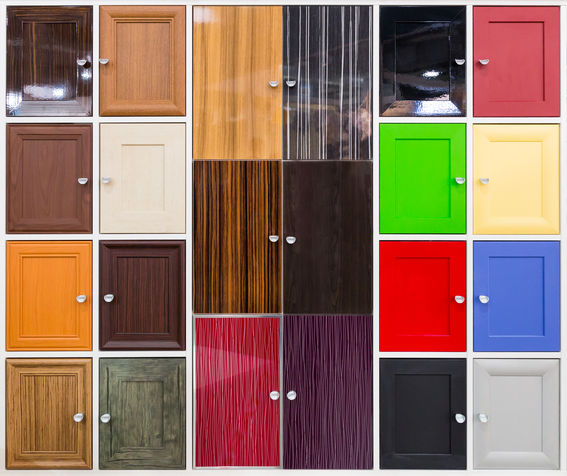 Detail of colorful cabinet doors with nice handles