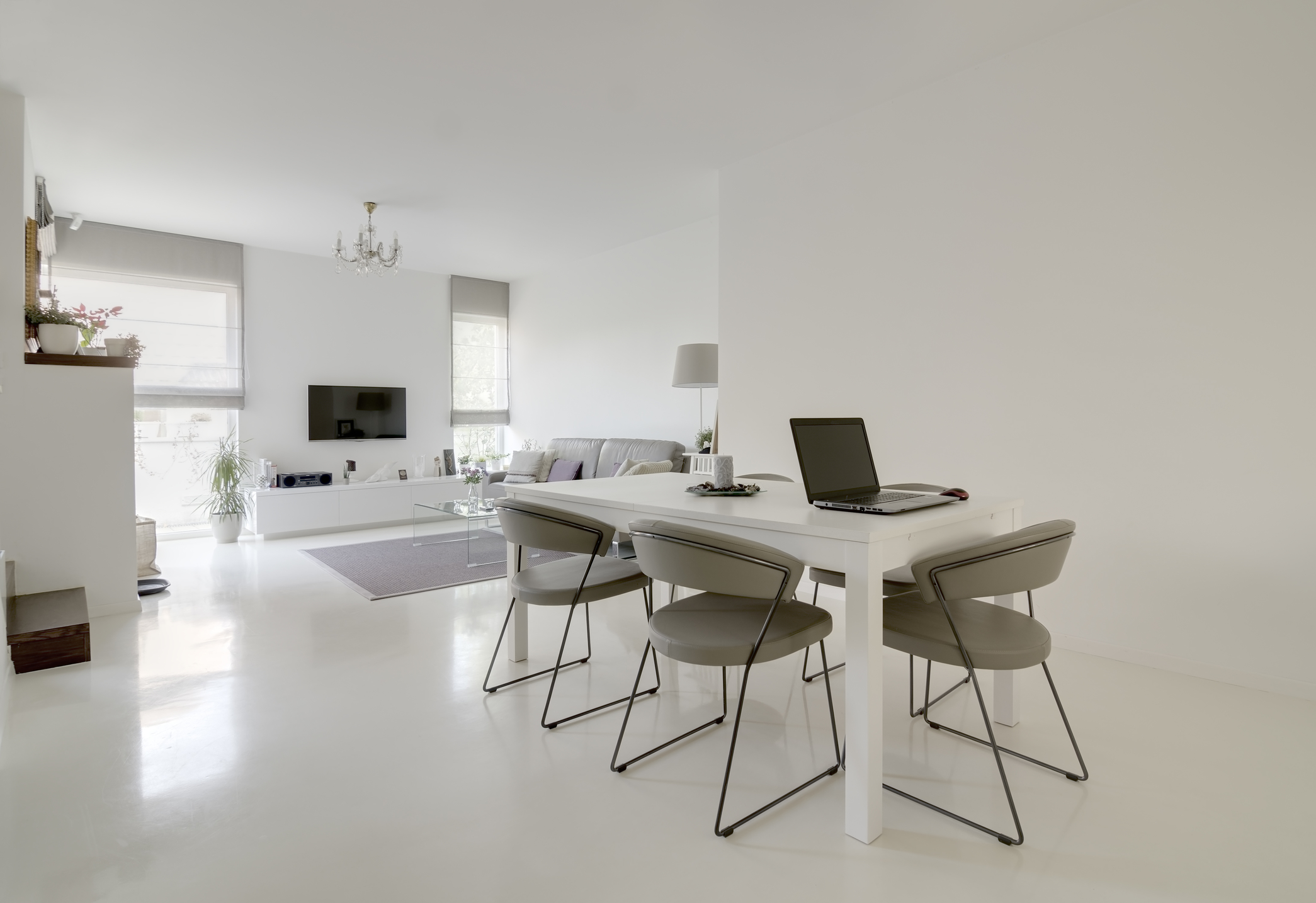 Modern white dining and living room