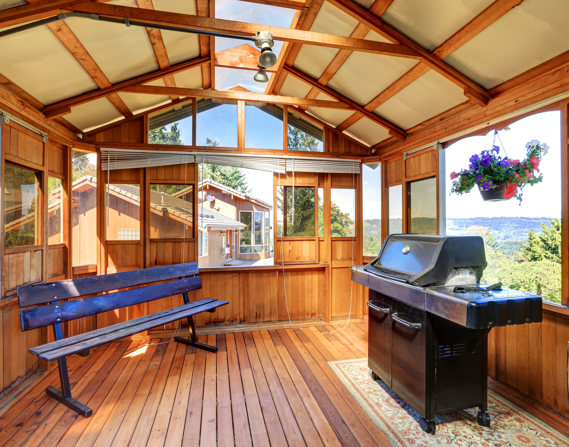 Wooden Barbecue shed with bench