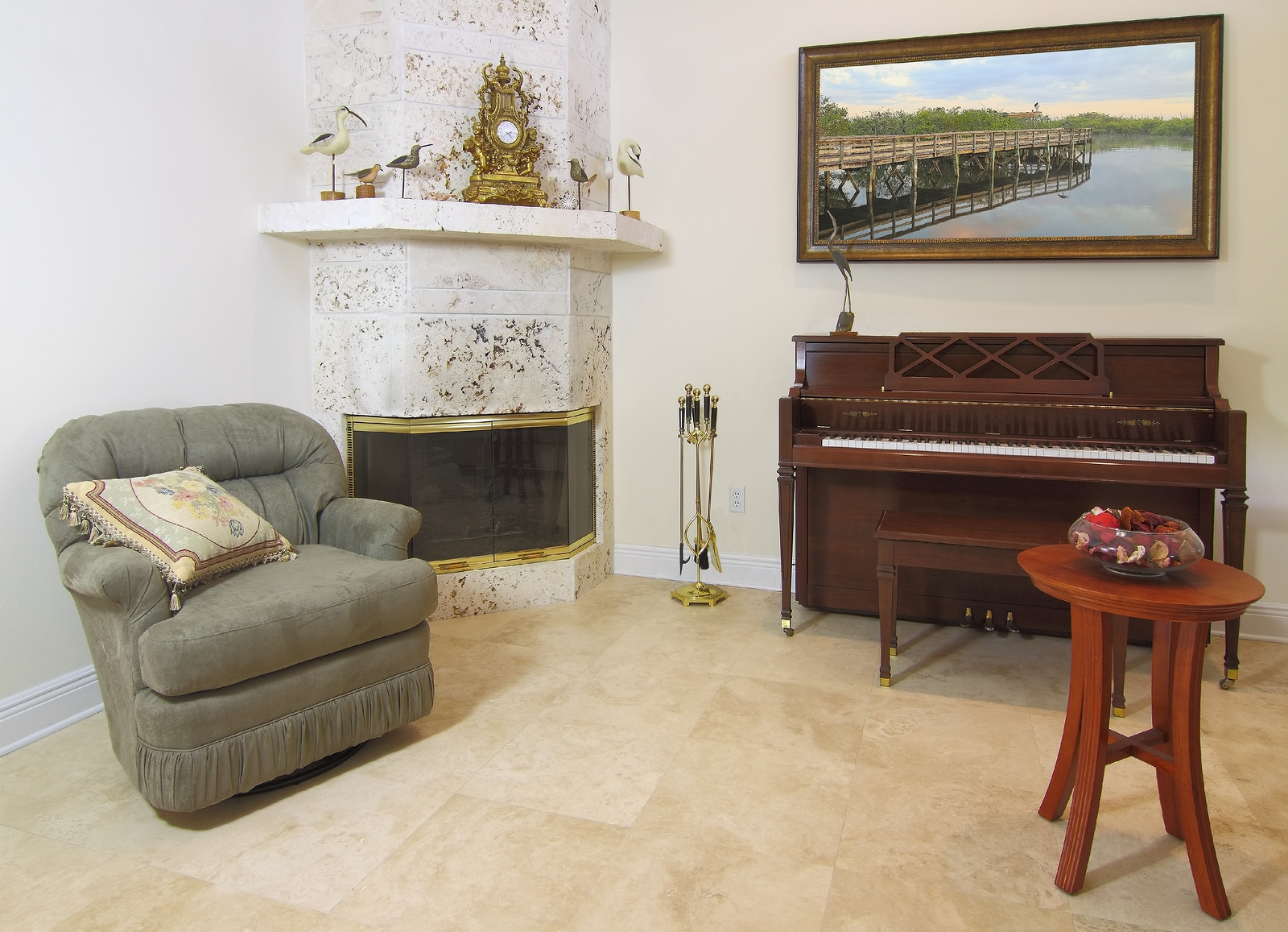 View of a beautiful formal modern sitting nook to relax or read a book