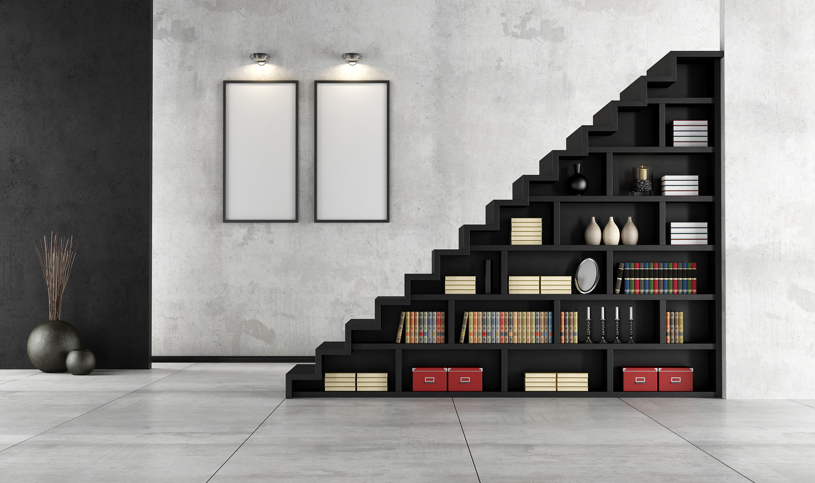 Minimalist Living room with a wooden staircase and bookcase