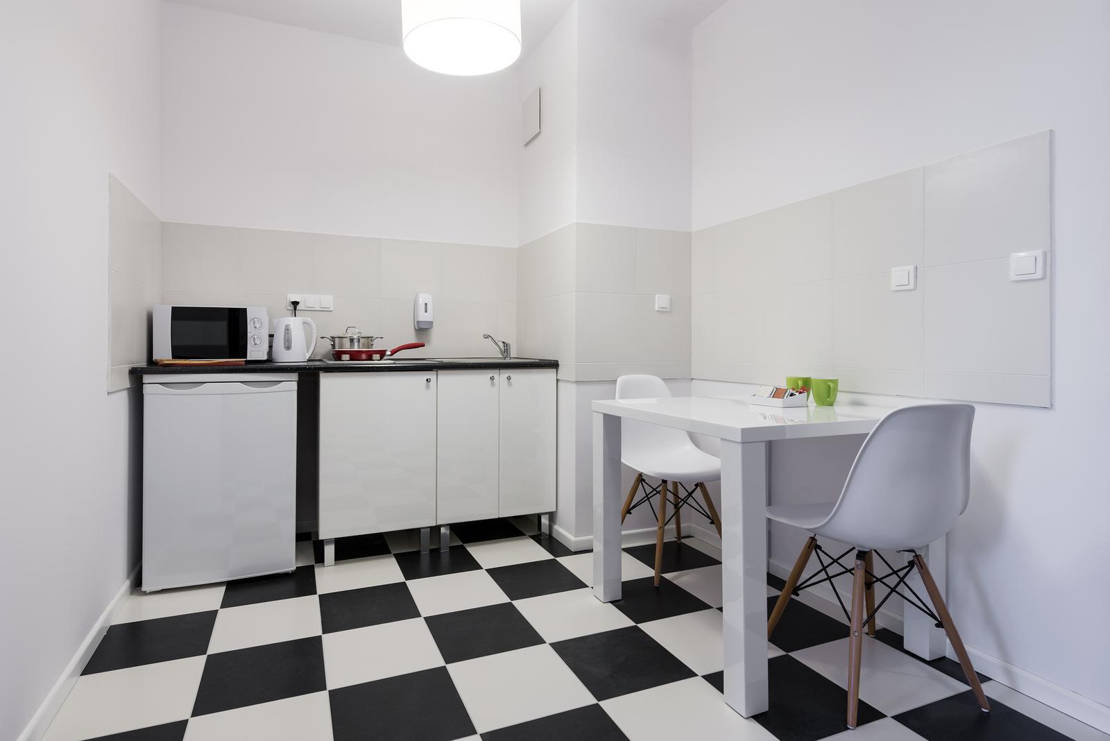 White and black small and compact kitchen interior design