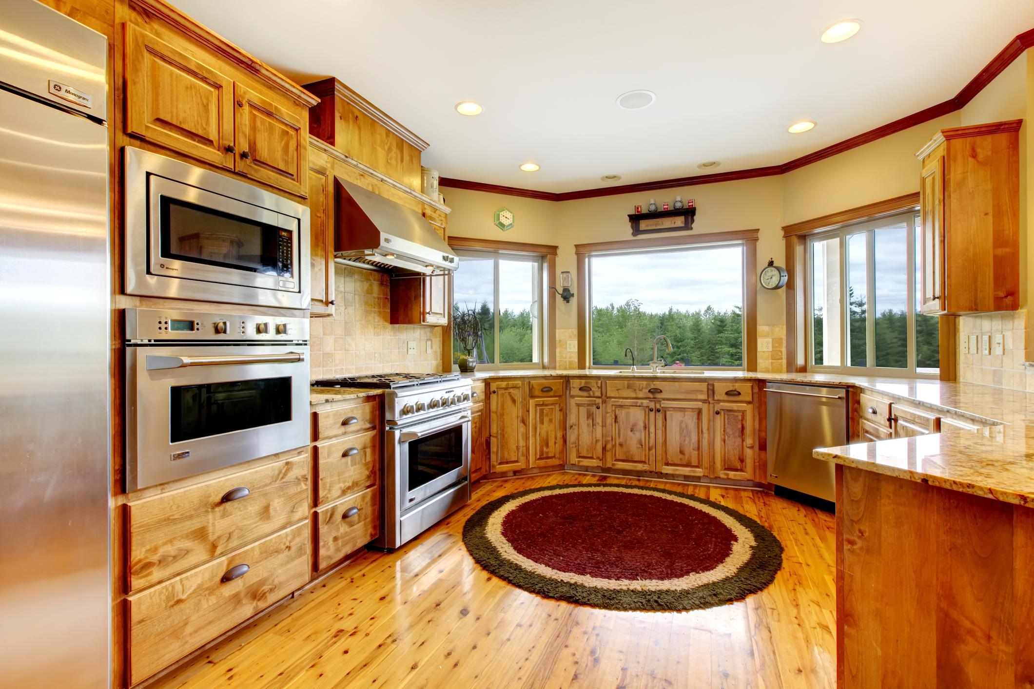 Wood luxury home kitchen interior