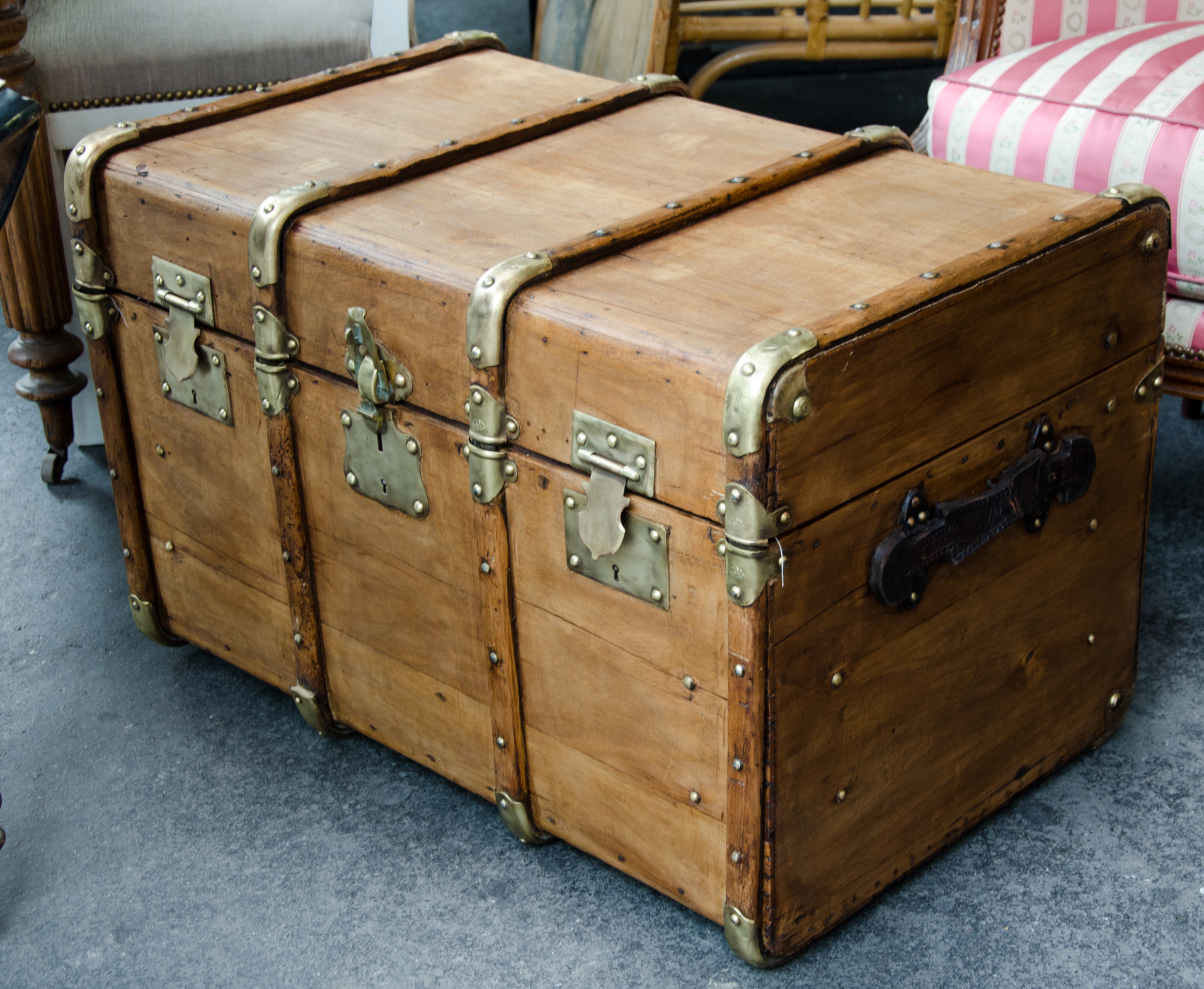 One big and large old wood case