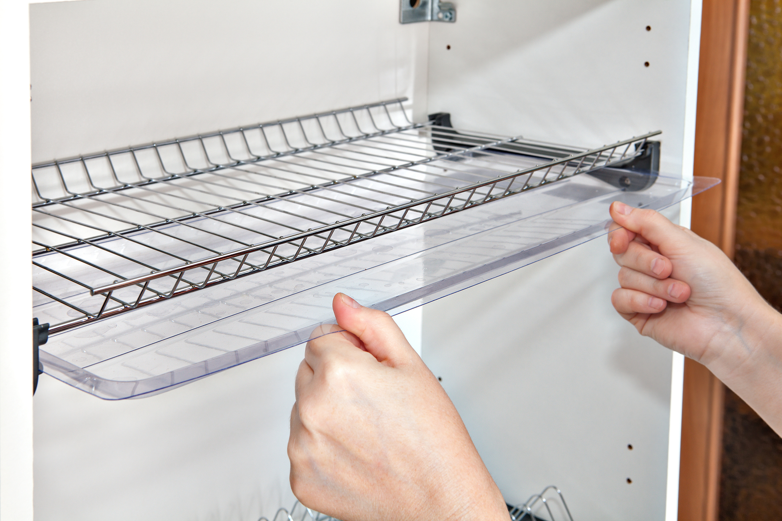Installing shelf under kitchen cupboard with inside wire plate rack
