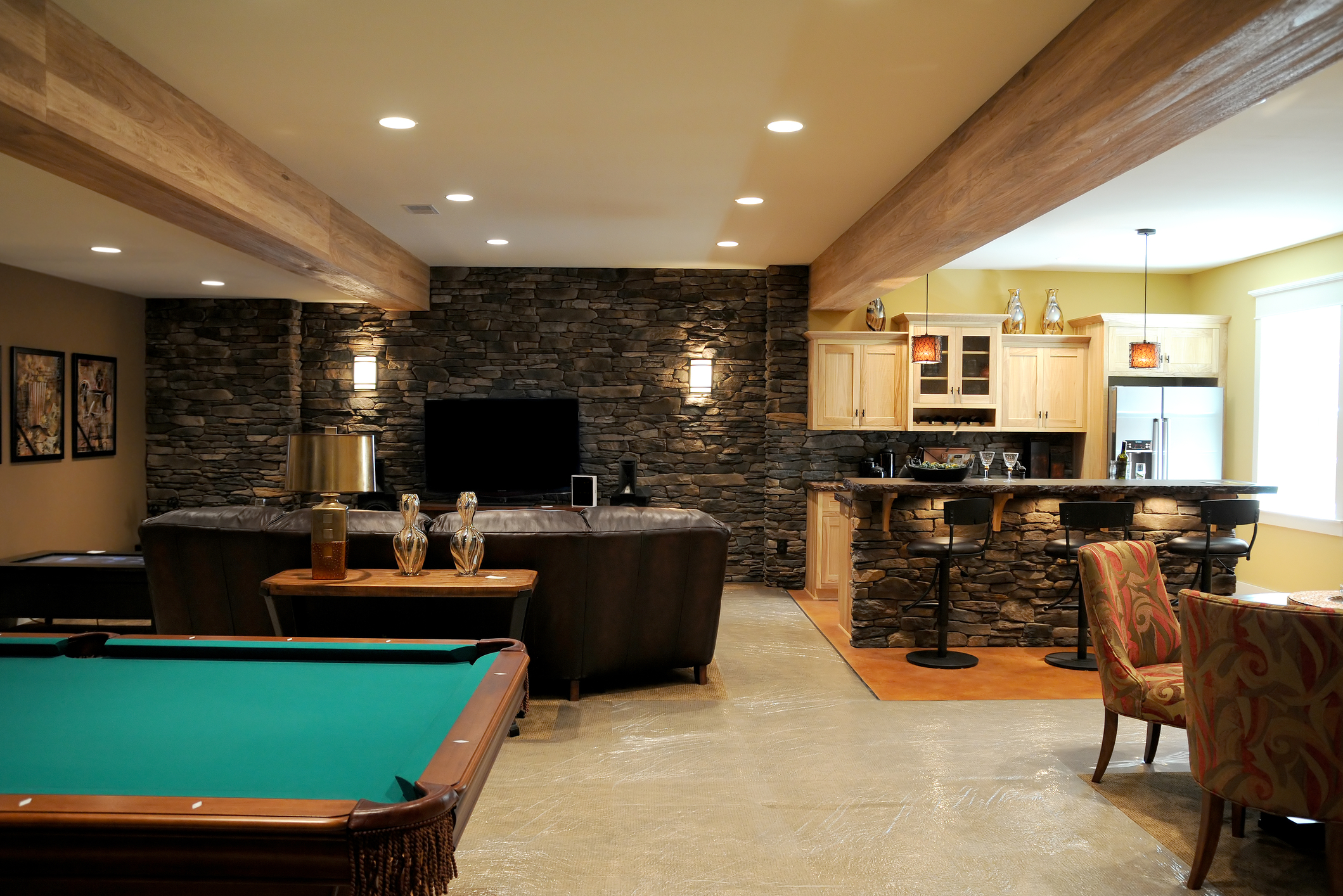 A cozy and beautifully decorated basement
